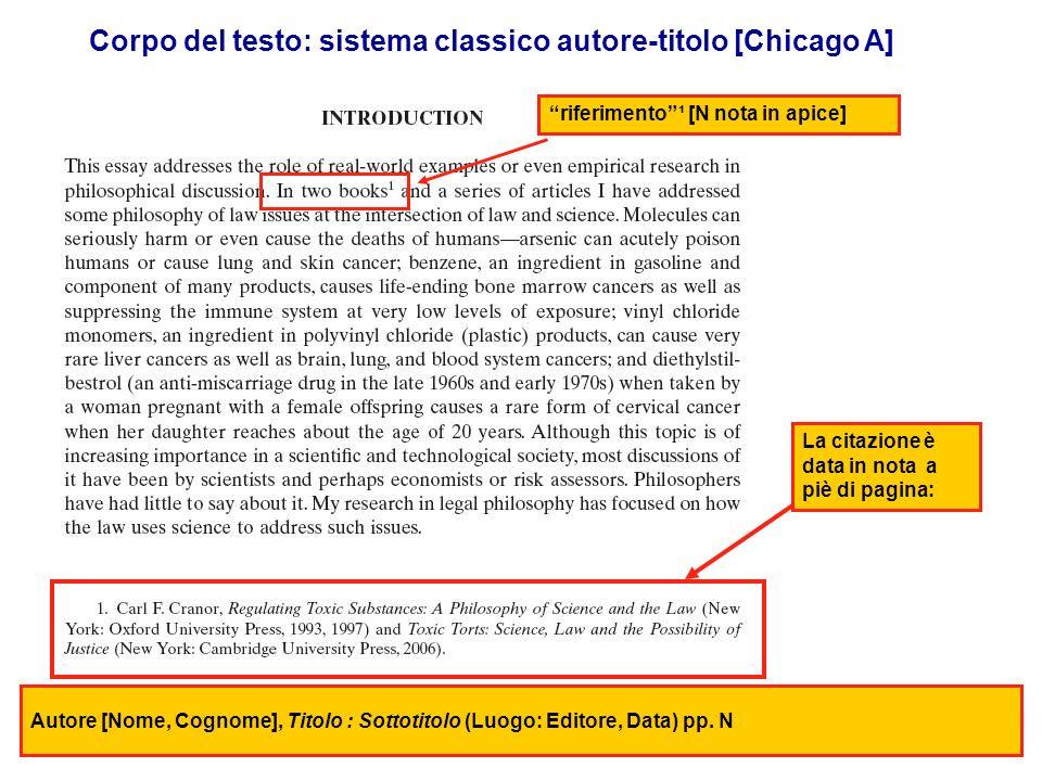 Corpo del testo: sistema classico autore-titolo [Chicago A]